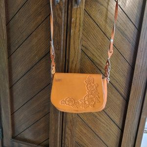 Handbags - Handcrafted small leather tooled crossbody